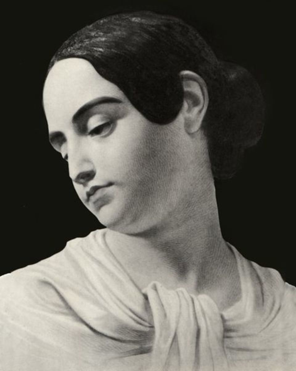 Virginia Eliza Clem Poe portrait in death, possibly painted by Marie Louise Shew, a good friend of Edgar and Virginia.