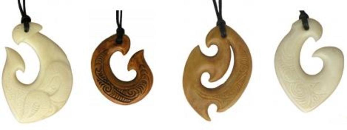 Bone fish hook symbol necklaces