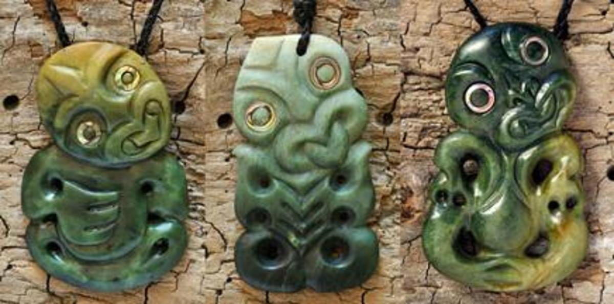 Pounamu (jade) tiki symbol necklaces by master carver Ewan Parker
