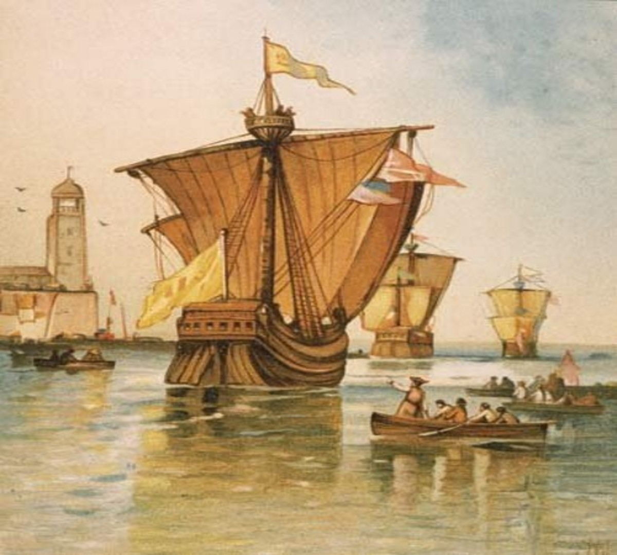 The ships Niña, Pinta, and Santa Maria