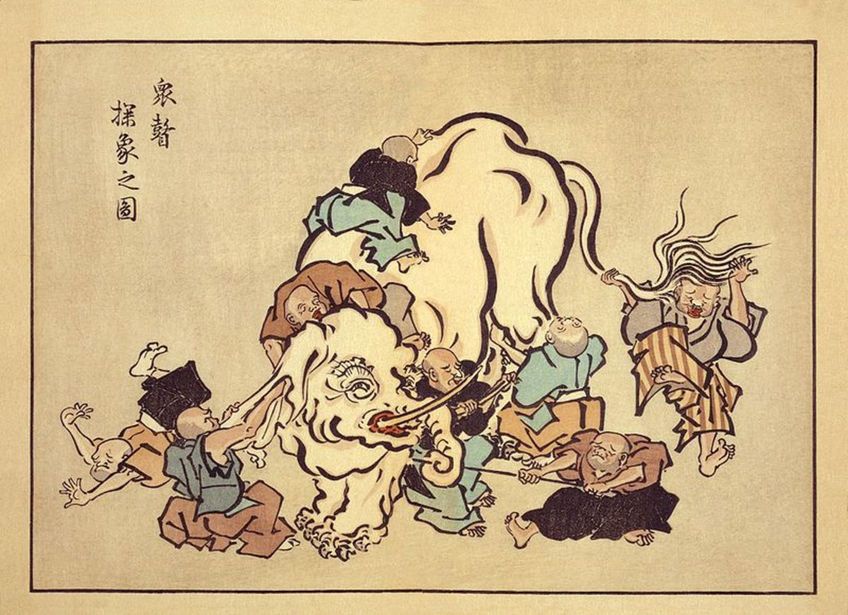 Blind monks examining an elephant. Image from Wikipedia