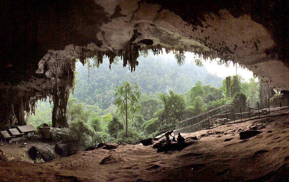 Entrance to a  large limestone cave in Malaysia