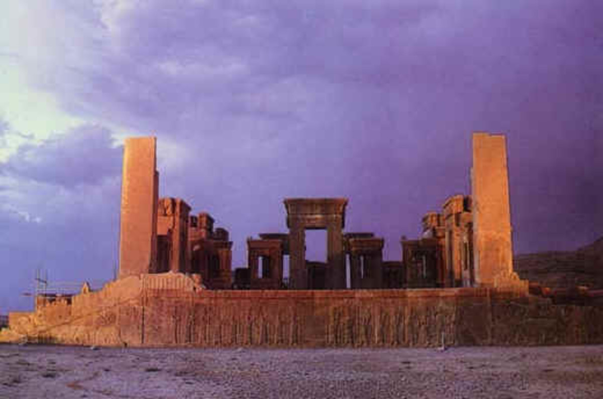Ruins of the Hadish Palace at Persepolis, built by Xerxes (King Ahasuerus)