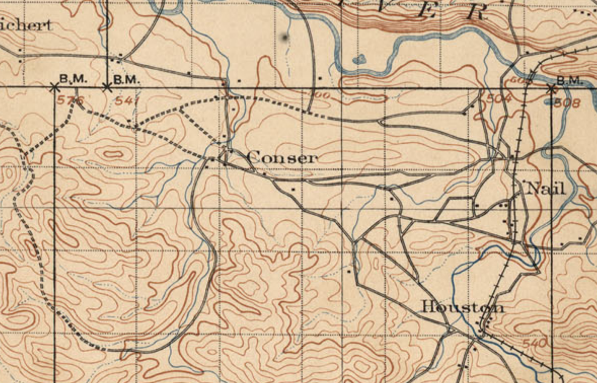 The area around the Town of Conser, around 1898.