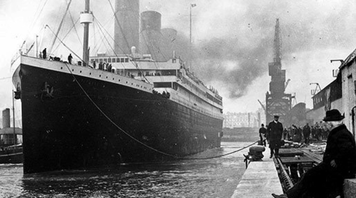 A photo of The Titanic docked at Southhampton