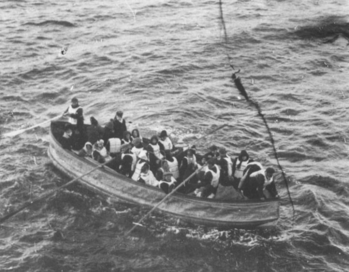 Survivors on a lifeboat from the Titanic