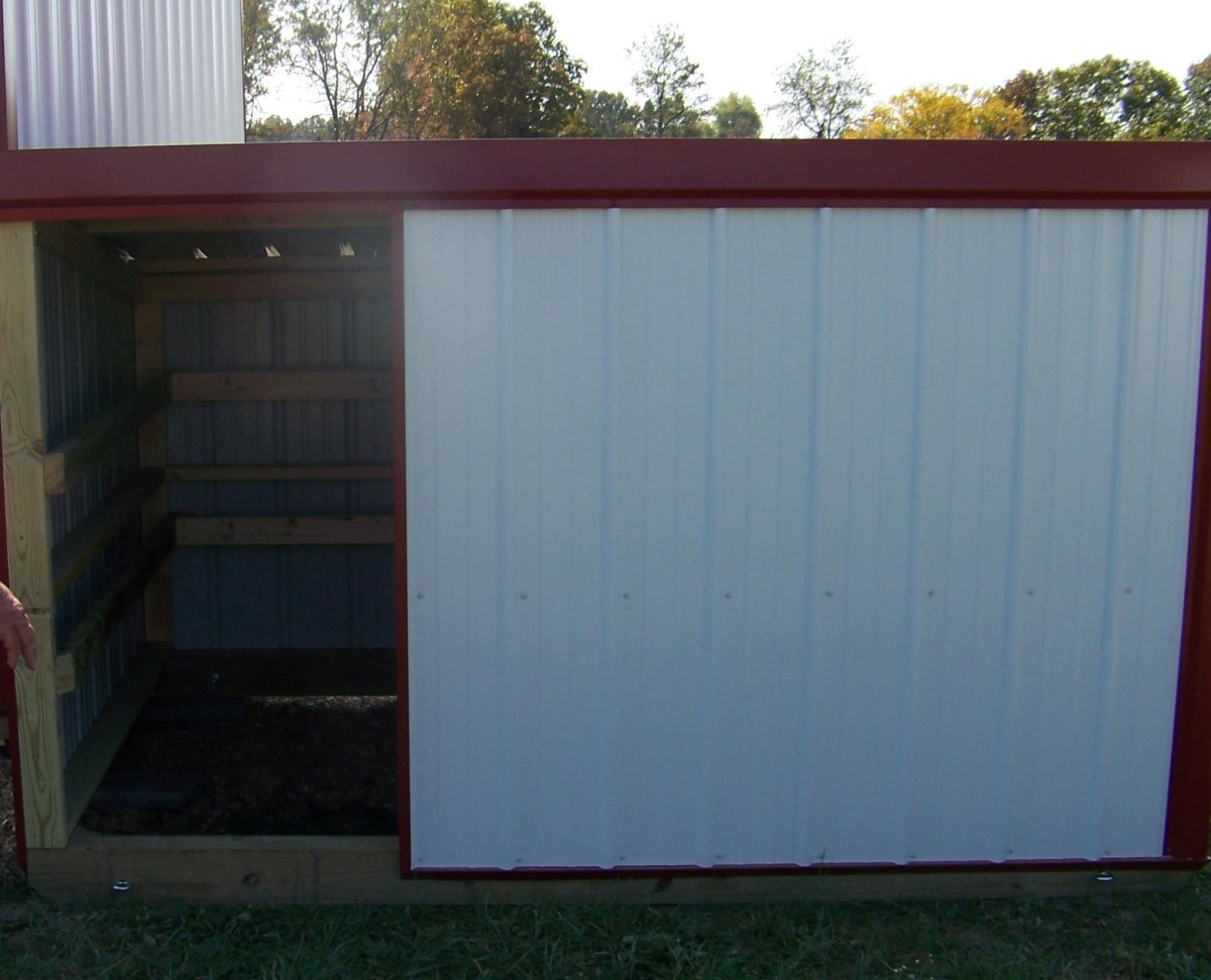 This 6' x 9' goat barn provides ample shelter from the wind and rain and plenty of room for up to a dozen Nigerian Dwarf goats to snuggle together.