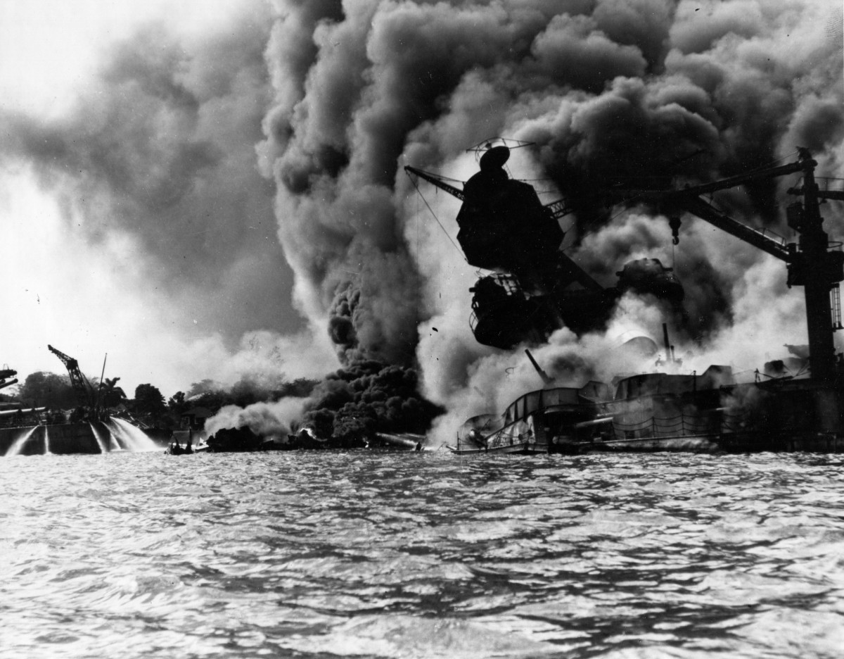 The USS Arizona sinking in Pearl Harbor after the Japanese attack.