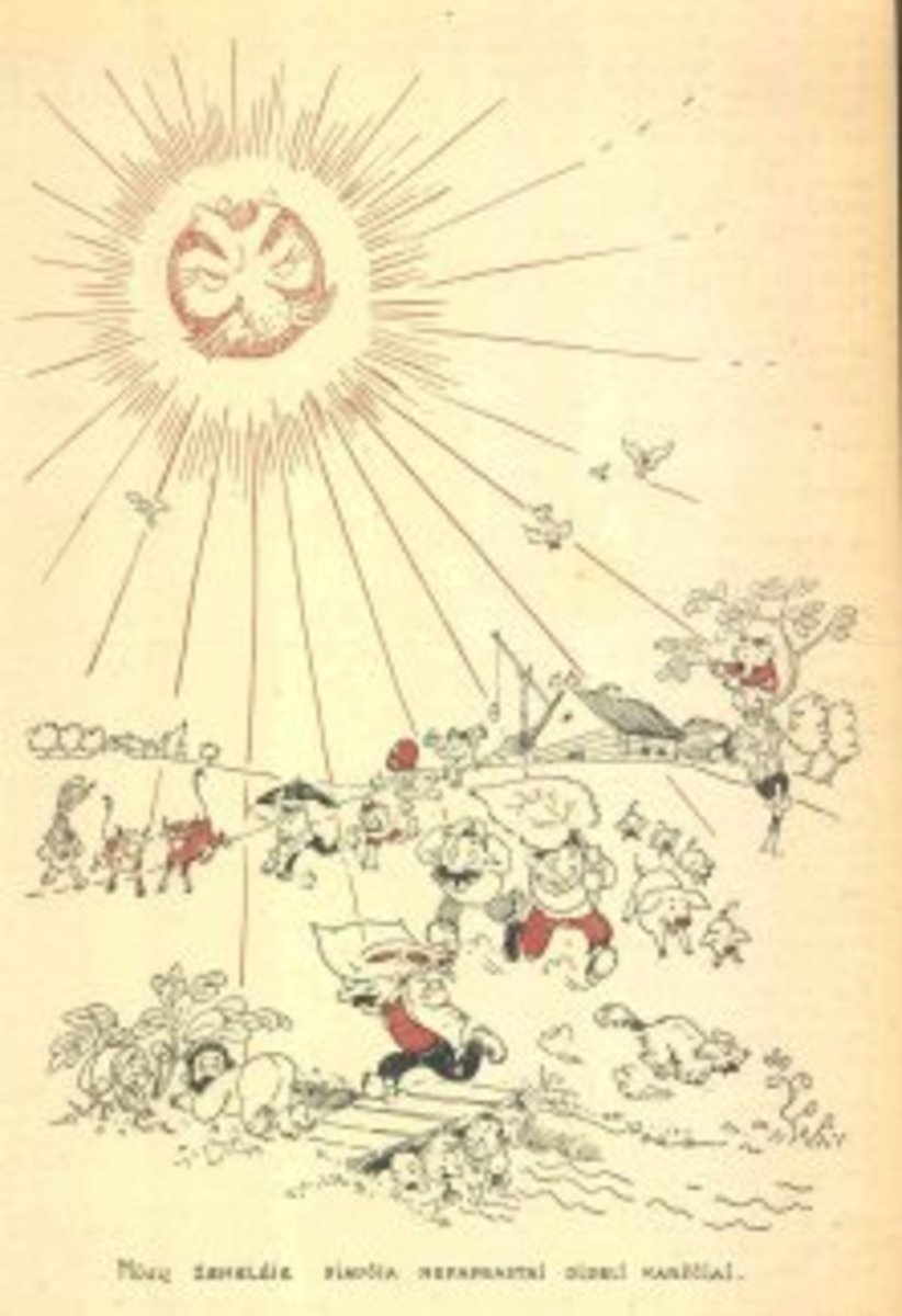 "A satirical drawing shows Lithuanians fleeing Stalin's rays. The caption translates, ""In our land there is still Big Heat."""