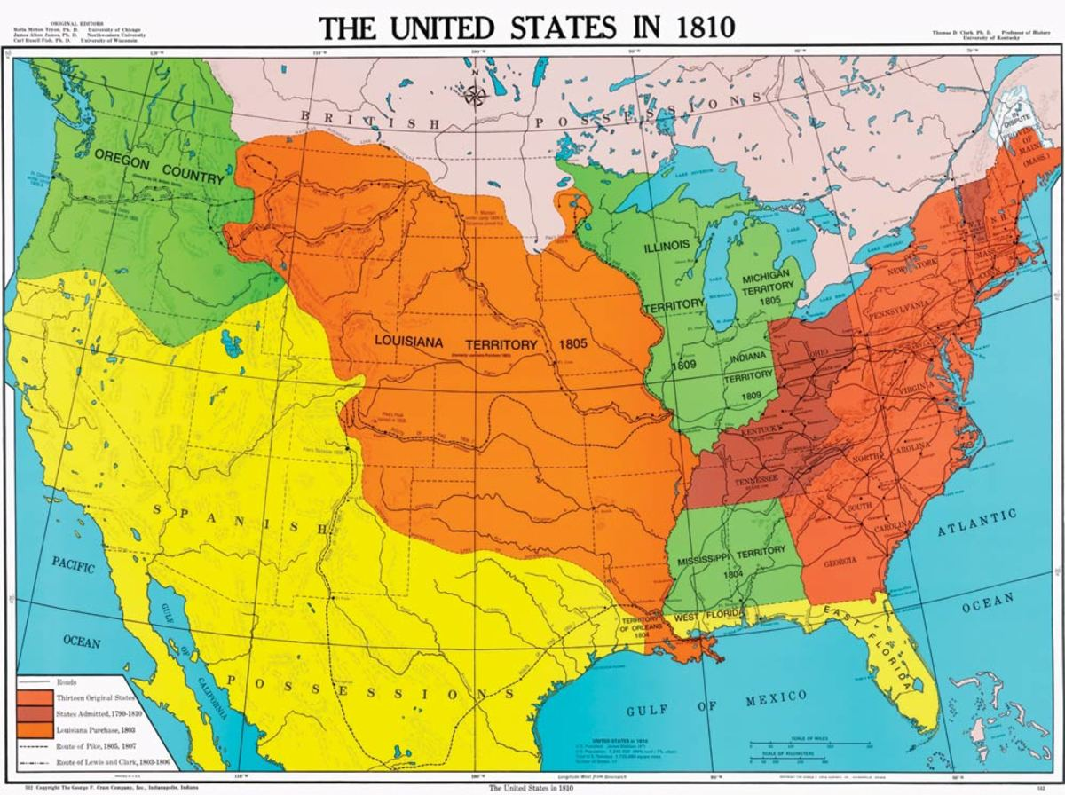UNITED STATES MAP IN 1810