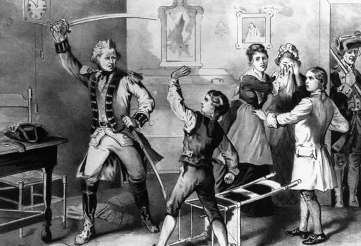 ANDREW JACKSON SLASHED BY SABRE OF BRITISH OFFICER AT AGE 13