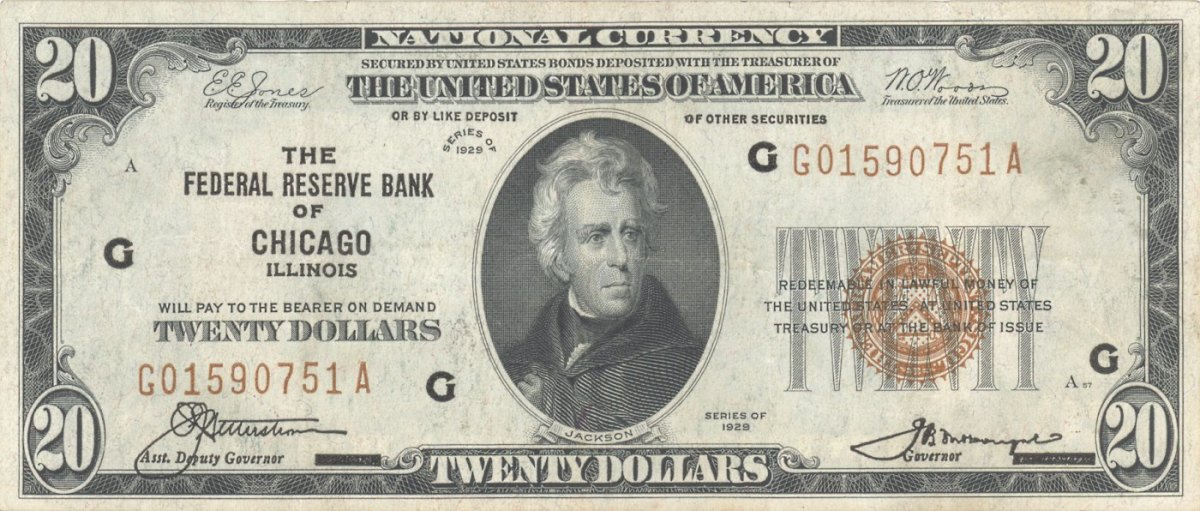 1929 ANDREW JACKSON 20 DOLLAR BILL