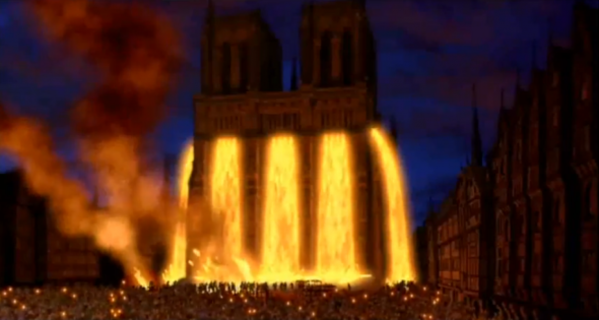 Disney Notre Dame with molten lead