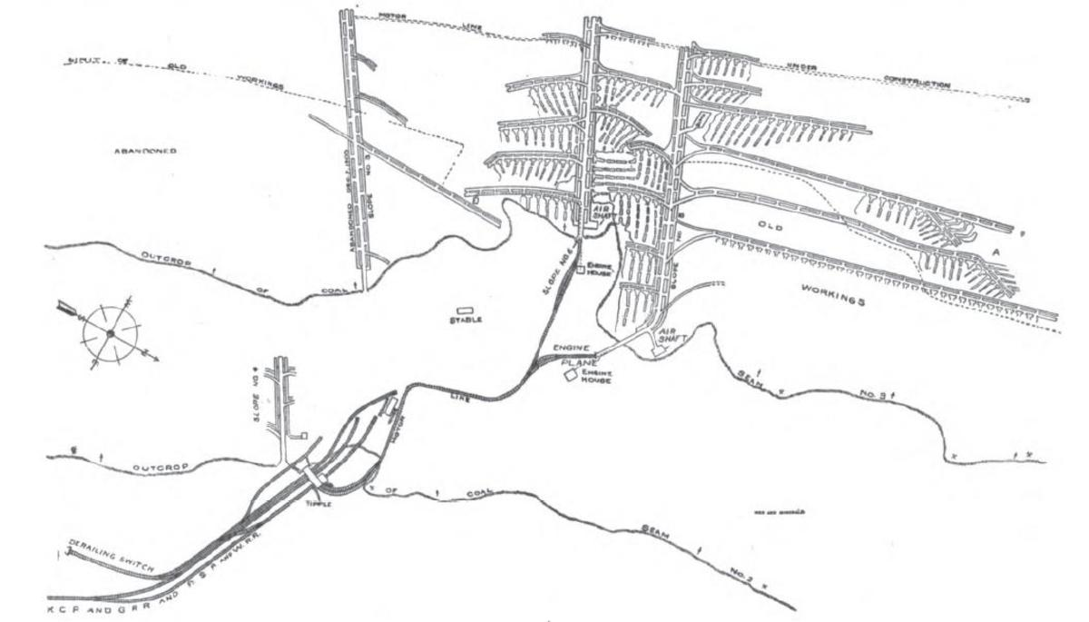 Layout of the Witteville Coal Mines
