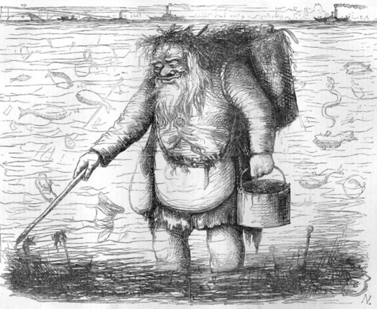 A sketch showing a dirty Father Thames - referring to the River Thames in London.