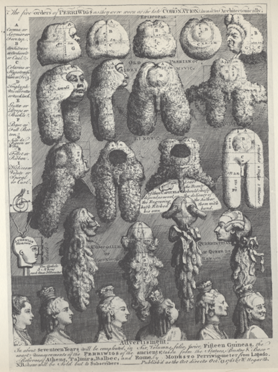 A selection of Peri-wigs for men and women - many were infested by lice and fleas before they were even worn.