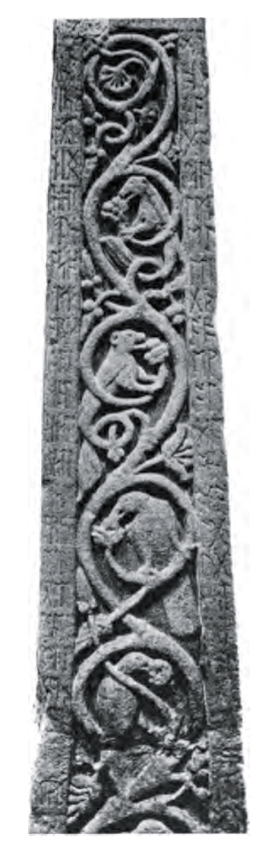 Close up of the Ruthwell Cross.