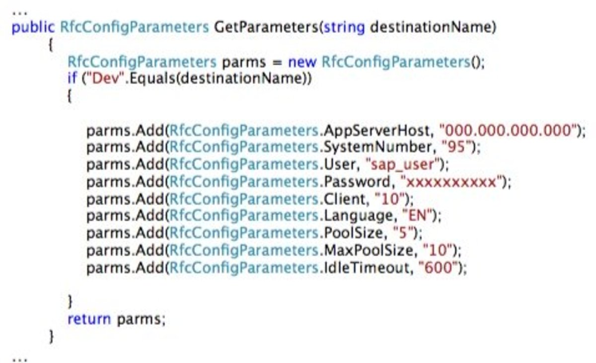 SAP RFCConnection Parameters