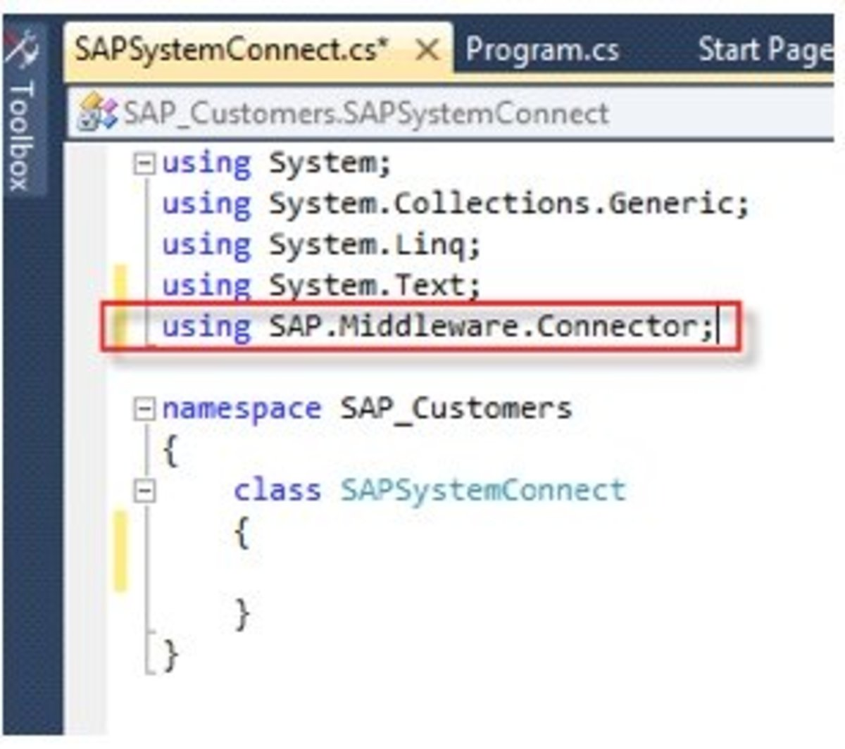Add the Connector Reference to the Class.