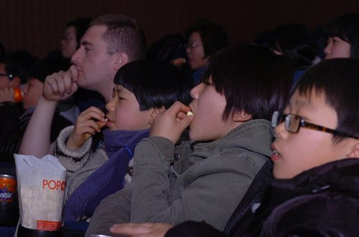 Students watching a movie.