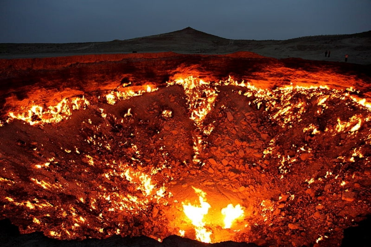 The Burning Gates of Hell in Turkmenistan at night. It has been burning since 1971. Taken April 20, 2010.