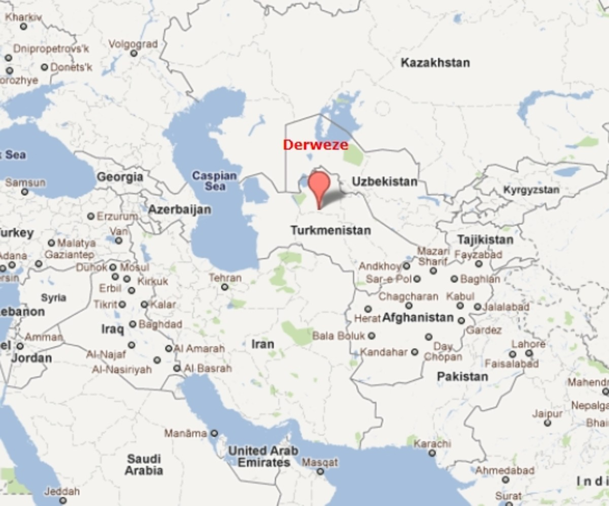 The Gates of Hell are near Derweze, Turkmenistan