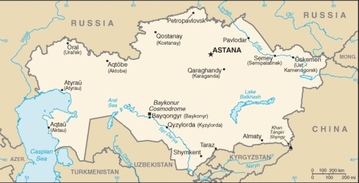 The Russian dandelion is native to Kazakhstan and Uzbekistan. This map shows the republic of Kazakhstan, with the republic of Uzbekistan to the south and Russia to the north.