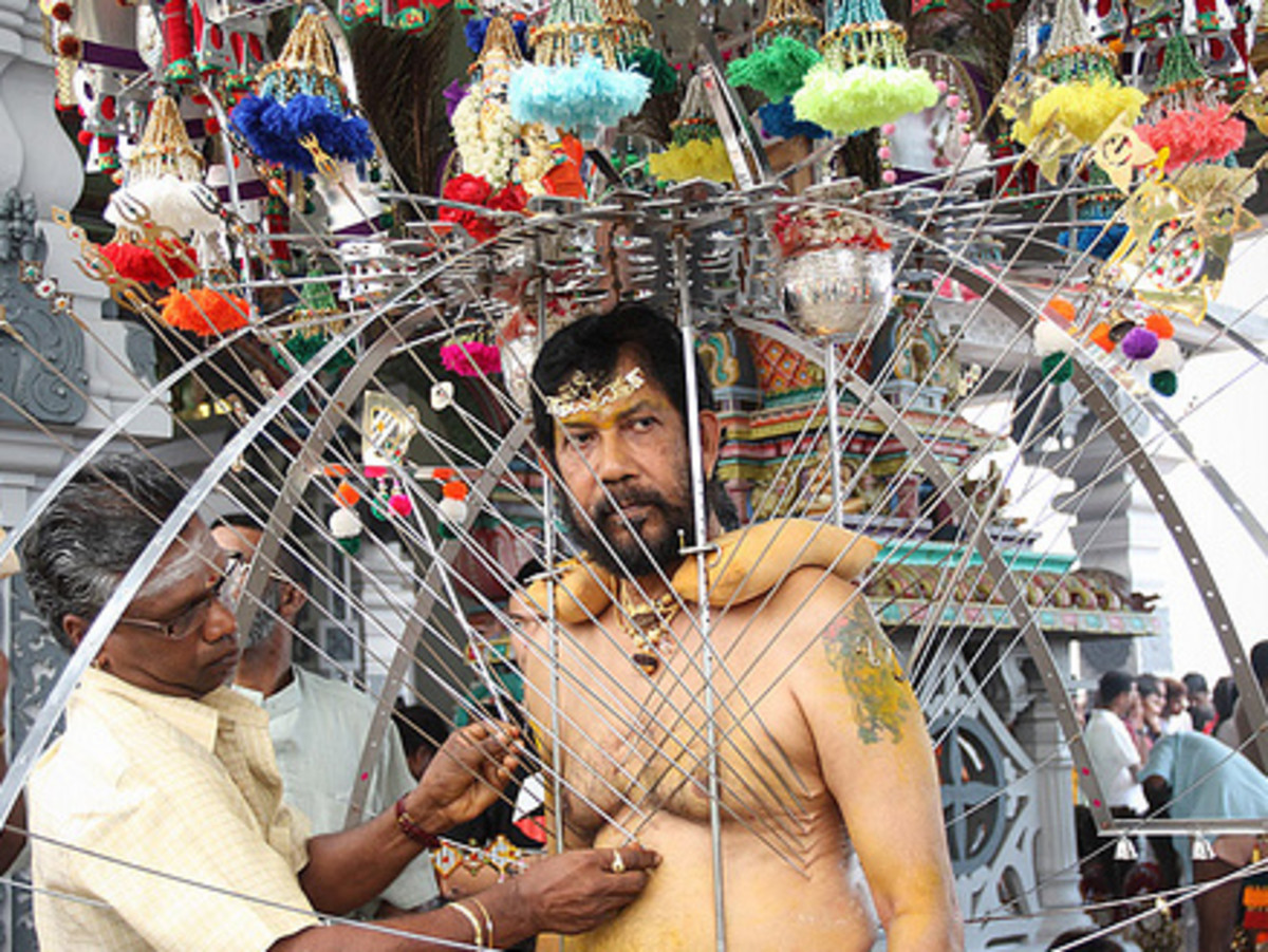 Carrying Kavadi during Thaipusam Celebration