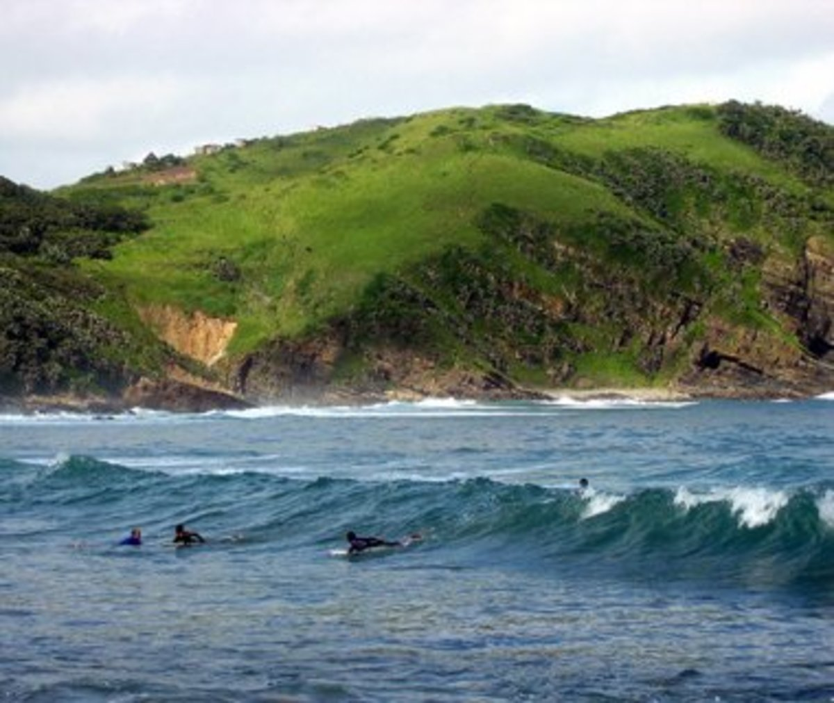 beach at Port St John's, South Africa where waves are perfect for surfers