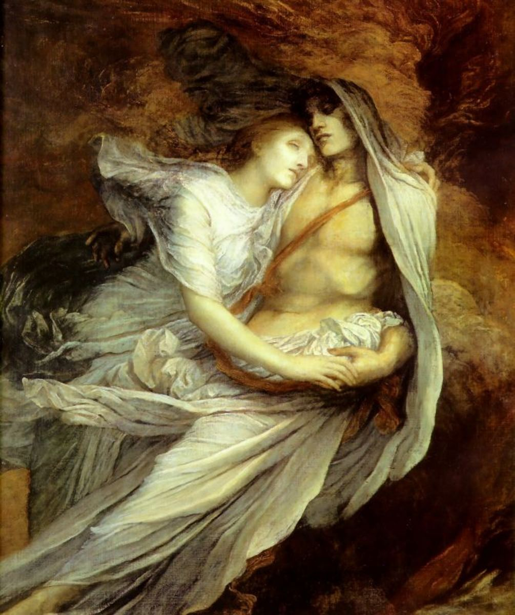 The ghostly lovers captured in verse by Dante Alighieri in his epic poem the 'Divine Comedy'.