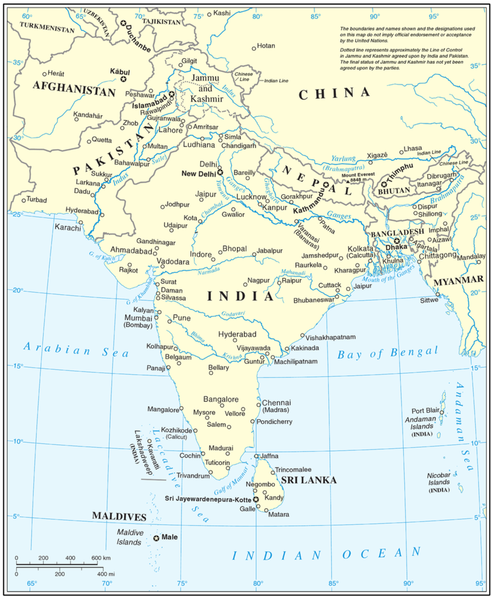 United Nations map of South Asia