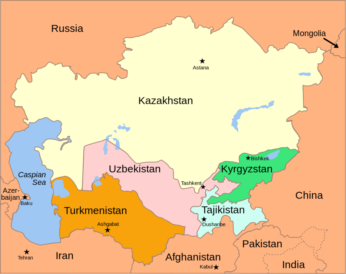 Map of the Caucasus and Central Asia