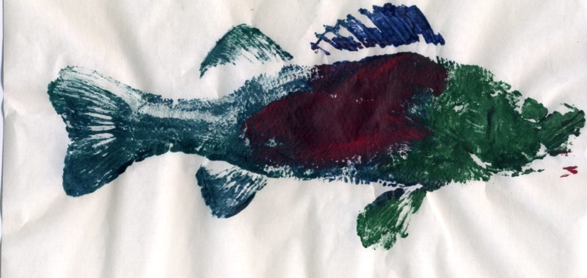 A gyotaku print made by artists Theocharis Athanasakis and Sachiko Kitagawa using a rubber fish.