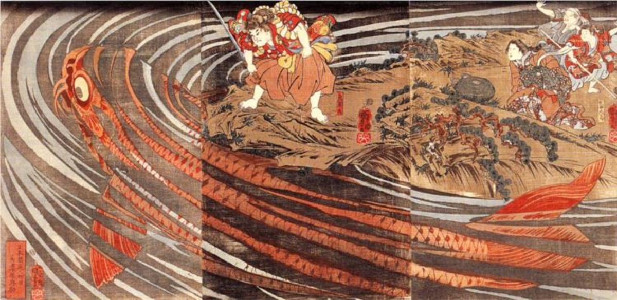 """Oniwakamaru preparing to kill a giant carp"" by Utagawa Kuniyoshi (1797-1861)."