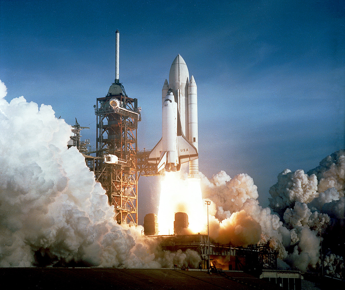 Columbia lifting off during STS-1, the first Space Shuttle flight