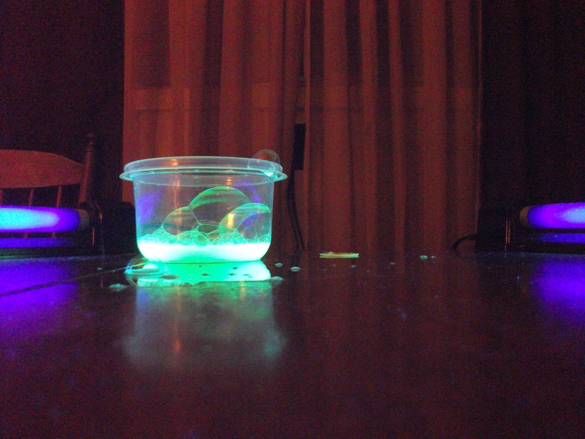 The Bubbles will glow with lights dimmed so you don't have to be in total darkness.
