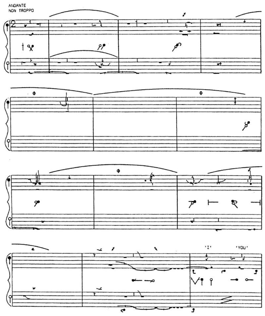 Example of a Pas de Deux score with 2 staves linked together for female and male dancers.