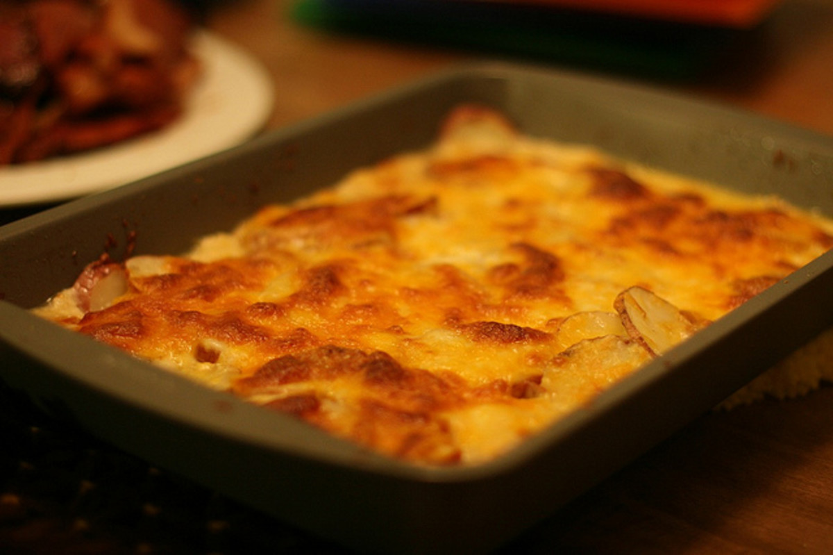 Potatoes and cheese in the above recipe is, in fact, potatoes au gratin. It is just as good today as in the 1920s!