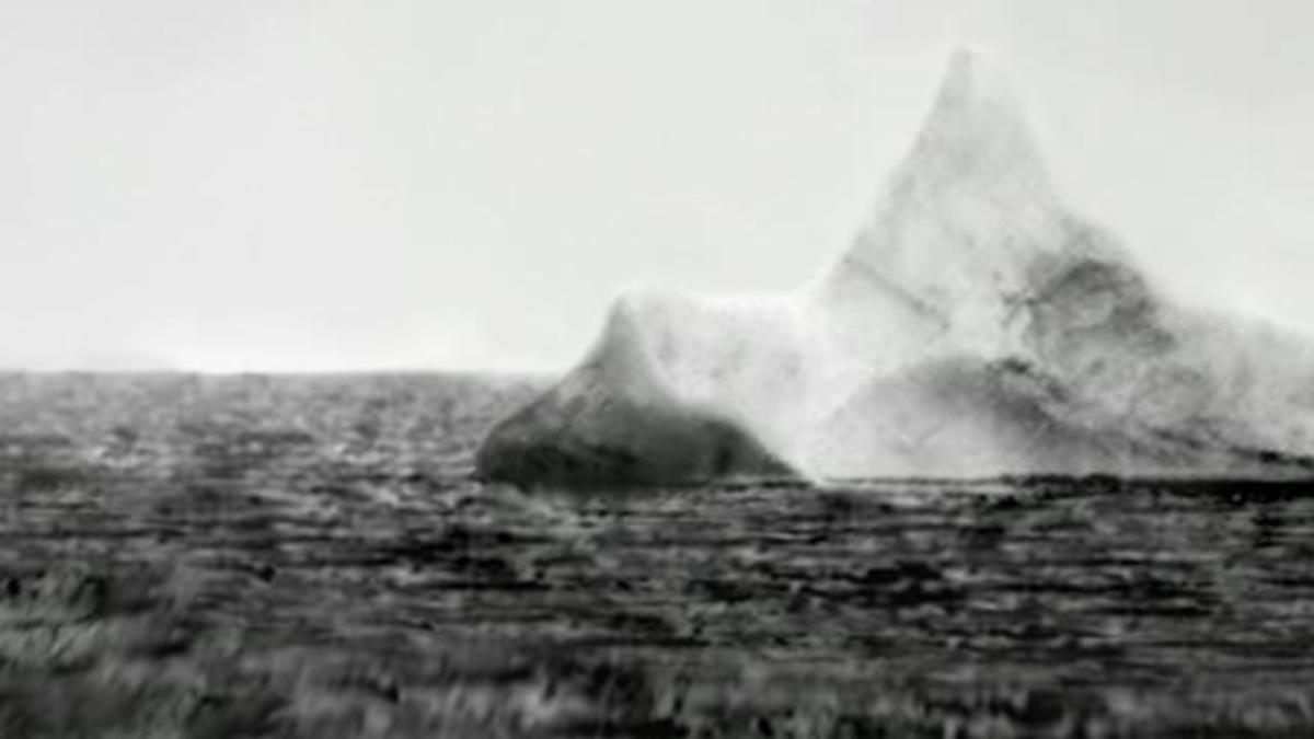 Photos of icebergs found on April 15, 1912, close to where the Titanic sank. A red streak of paint scraped along the base of one, serves as an indication that it had collided with a vessel within the previous 12 hours.
