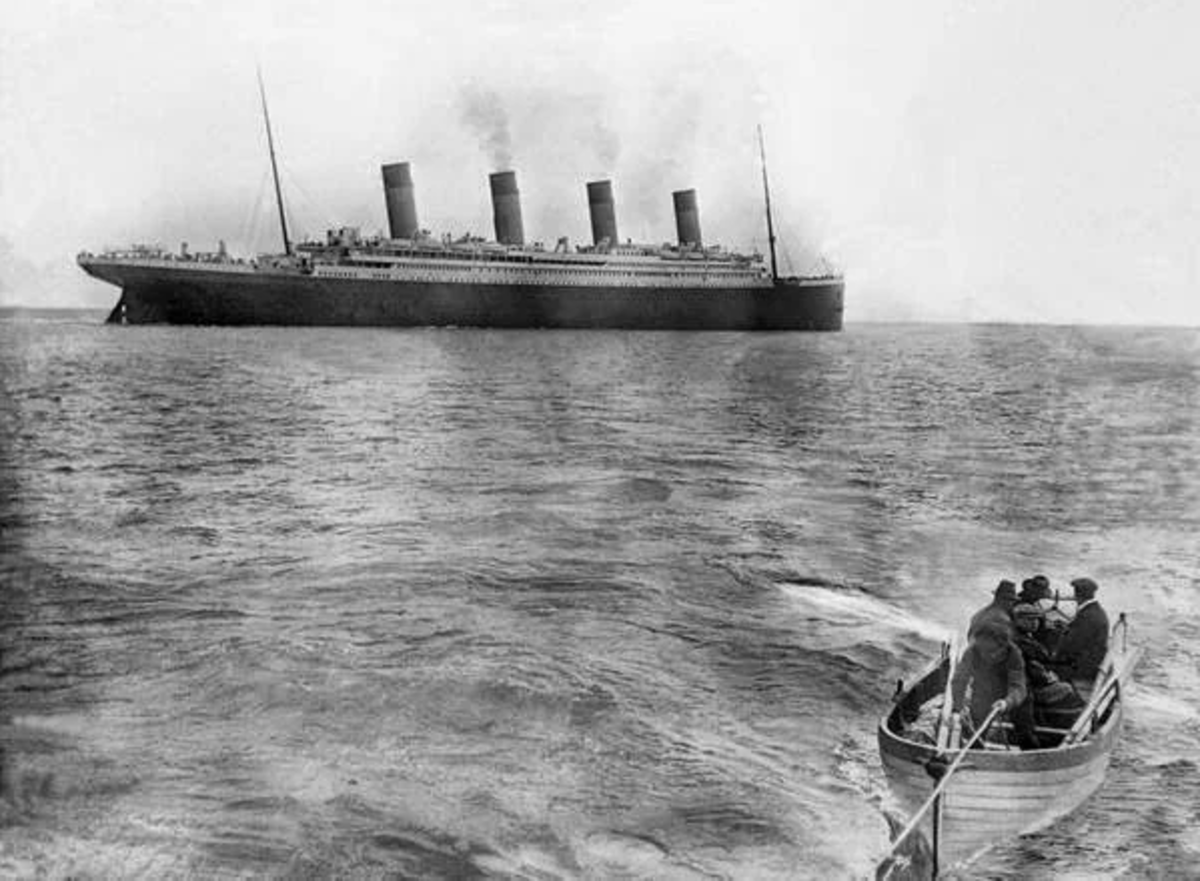 The last known photo of RMS Titanic taken on its maiden voyage April 12, 1912. Only three days later, the ship would collide with an iceberg, with over 1,500 passengers (including the captain) perishing.
