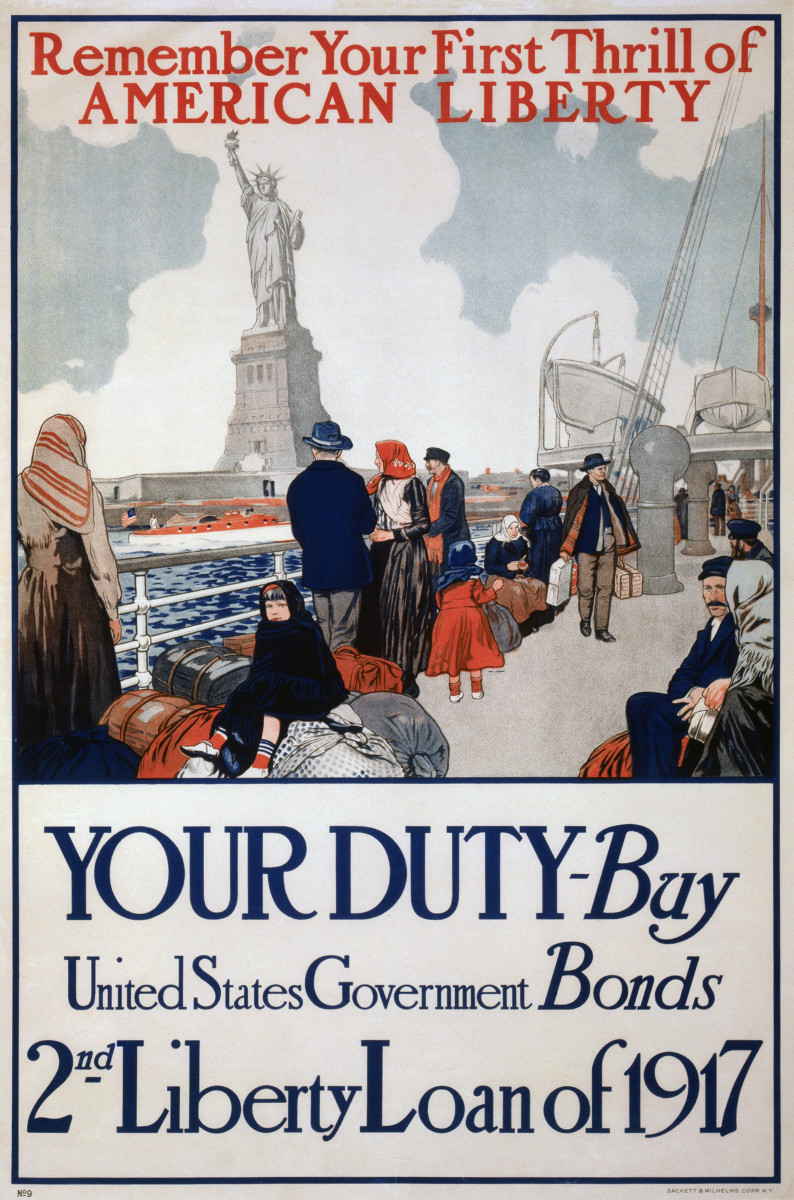 Poster produced by Sackett & Wilhelms Corp. N.Y. c. 1917.