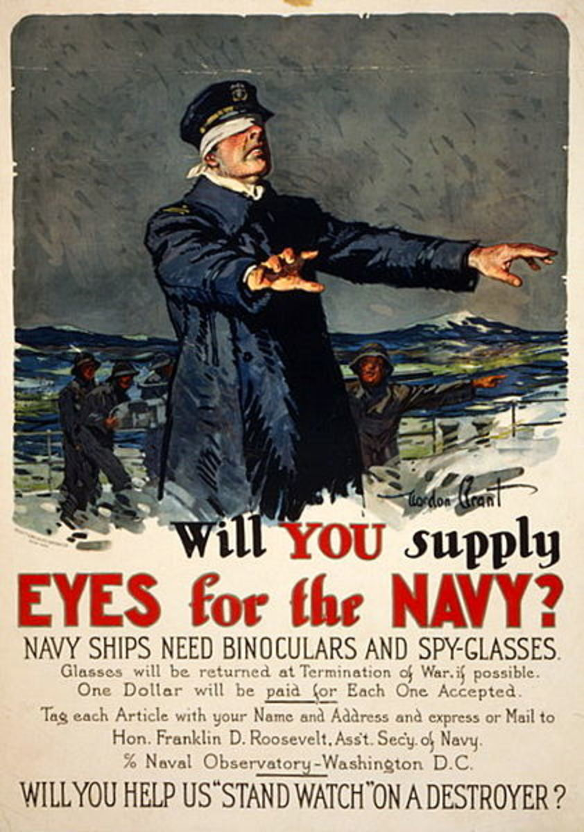Gordon Grant's 1917 poster invites Americans to help the Navy.