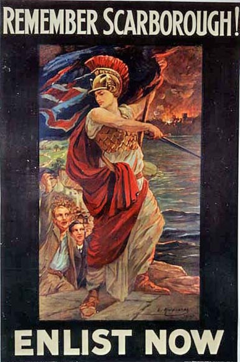 A vengeful Britannia, brandishing a Union Flag, leads the men of Britain to war.  Scarborough burns in the background.  Artist:  Lucy E Kemp-Walsh