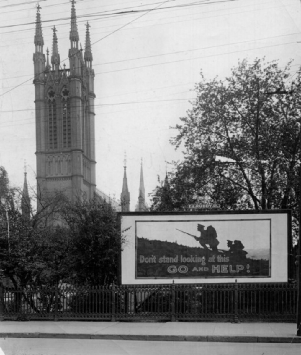 A recruitment poster outside a church in Toronto, Canada, 1914.  The message is direct:  Don't stand looking at this:  GO and HELP!