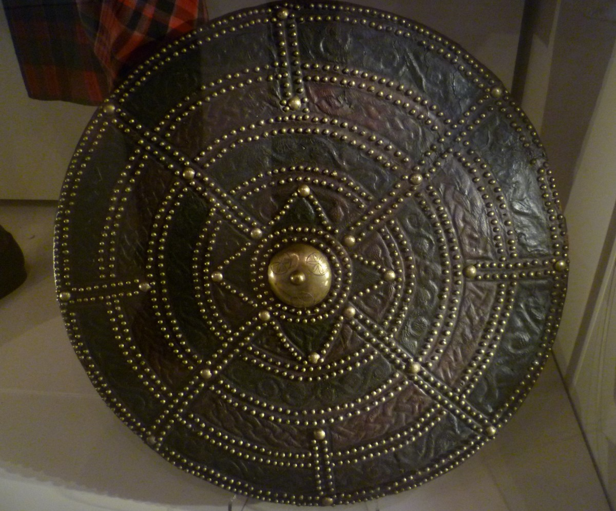 A targe with Celtic decoration on display at the National Museum of Scotland.