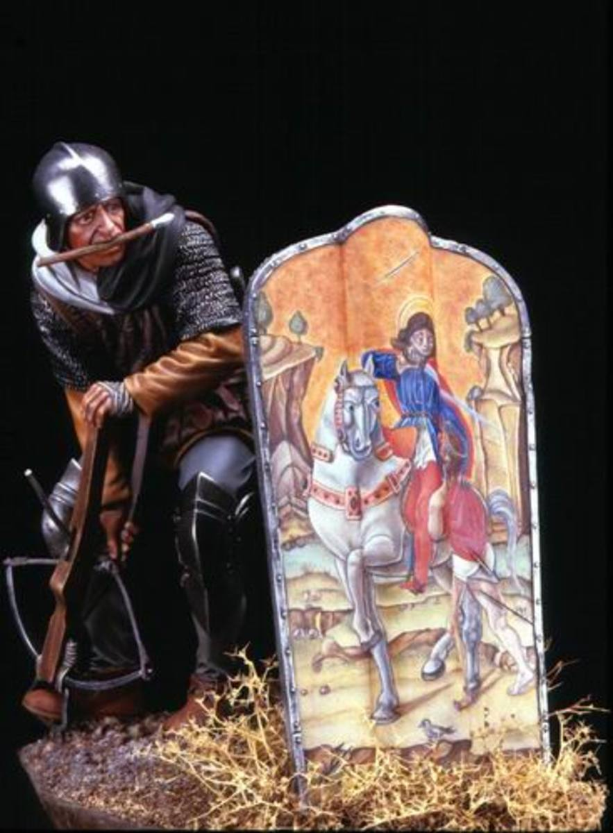 An example of a crossbowman and his use of a beautifully painted pavise shield.