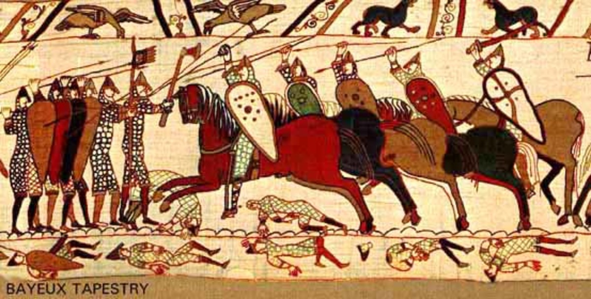 A portion of the Bayeux Tapestry displaying warriors on horseback and their use of the kite shield.