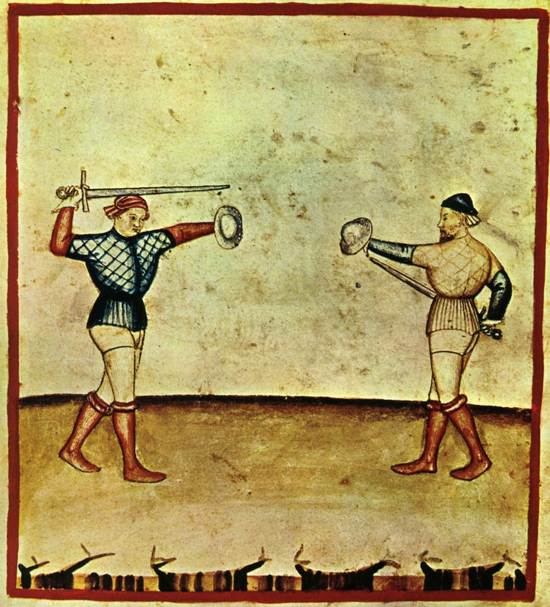 An illustration of a sword and buckler from a 14th century Italian manuscript.