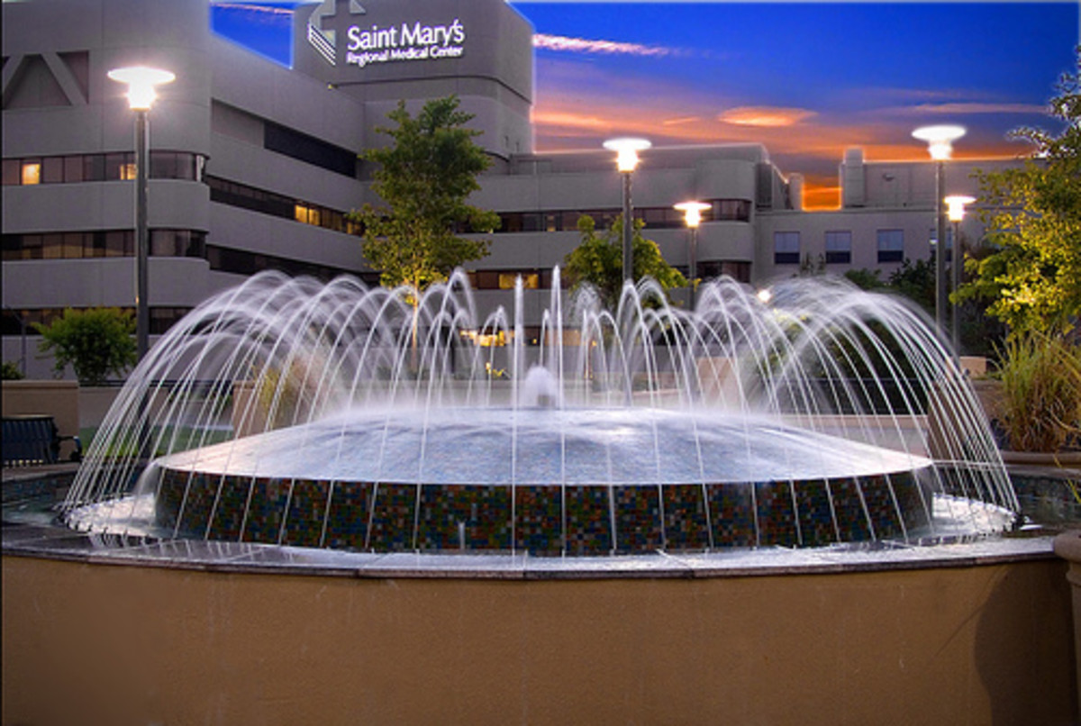 An outside water fountain
