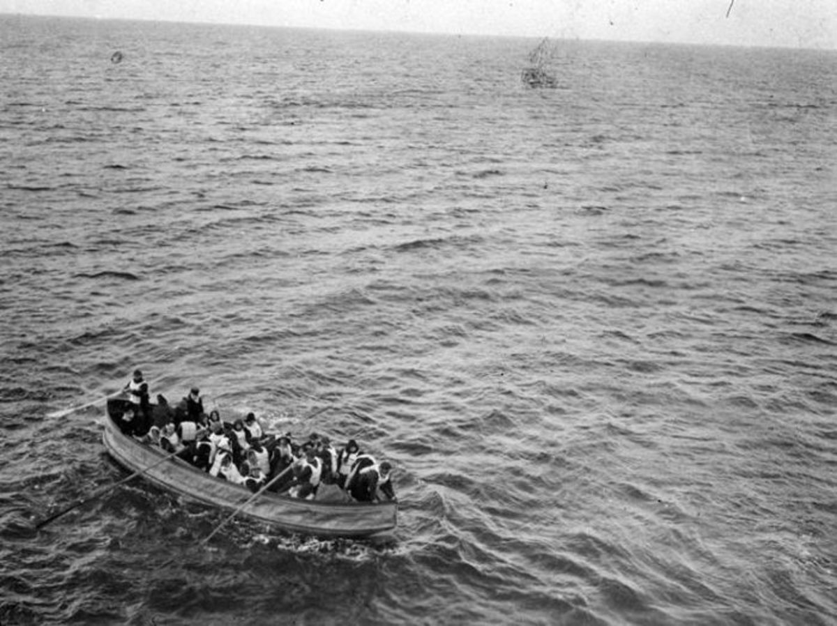 Taken by a passenger on board Carpathia on April 15, 1912 showing one of Titanic's collapsable boats.